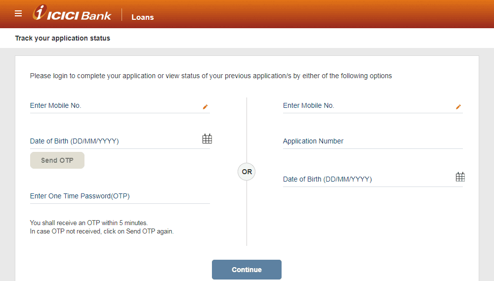icici banks APPLICATION