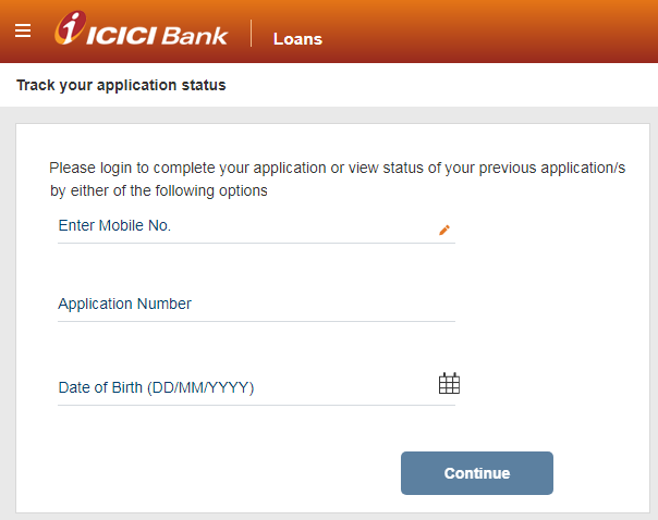 ICICI credit card application status using application number