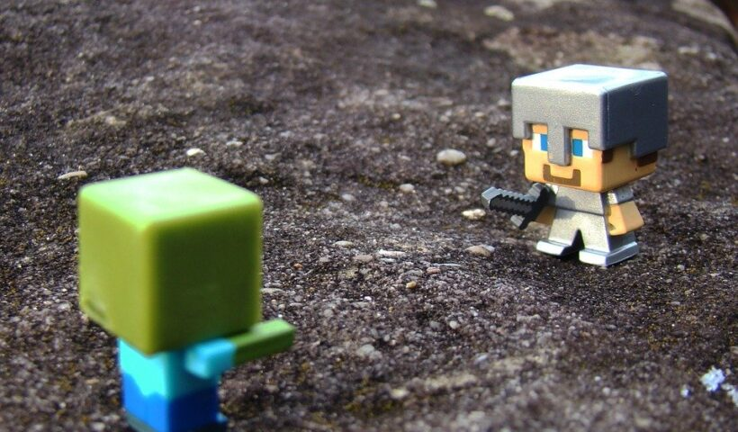 Minecraft, Steve, Zombie, Toys, Sword, Rock