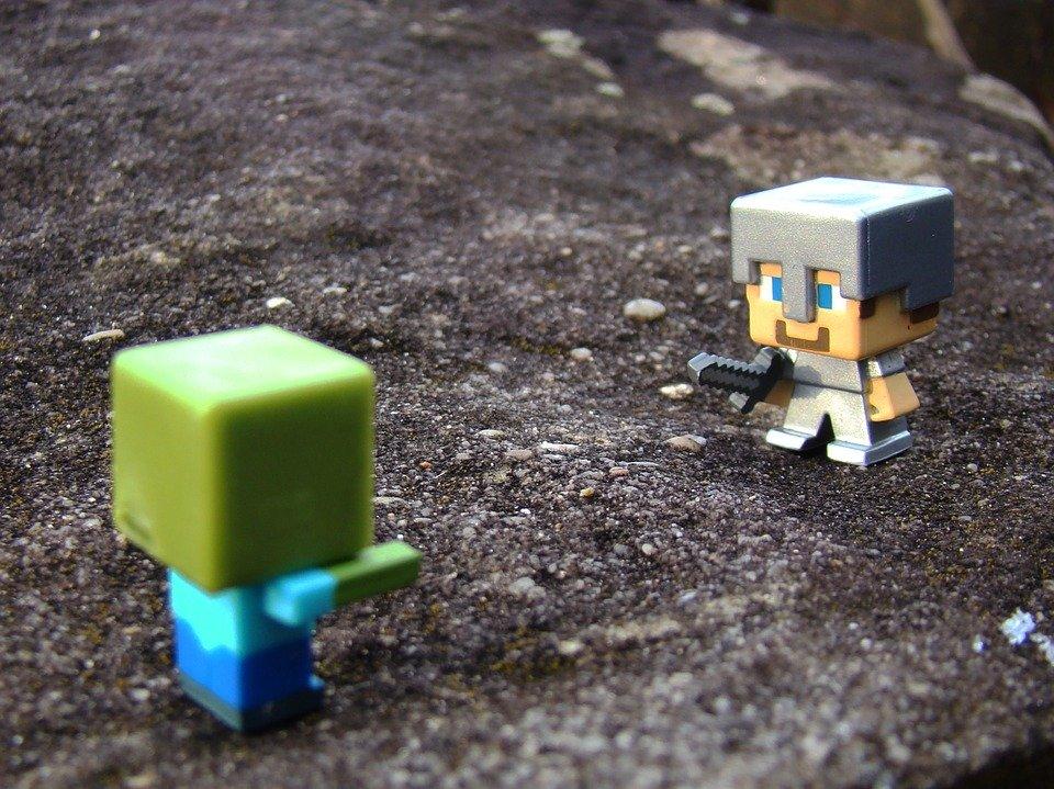 Minecraft, Steve, Zombie, Toys, Sword, Rock